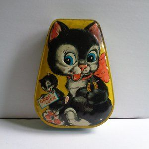 Vintage English Horner Kitty Cats Good Luck Tin